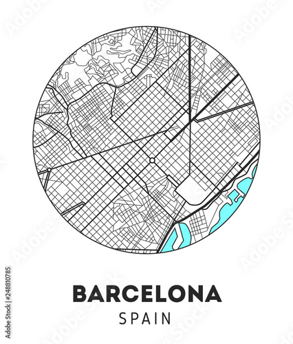 Fotografie, Obraz city map of Barcelona with well organized separated layers.