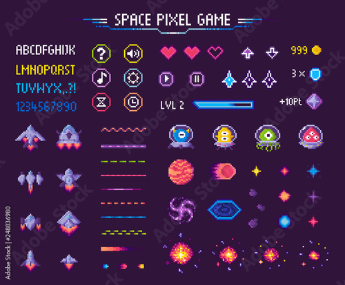 Leinwand Poster Space pixel game isolated vector icons font and cosmic characters