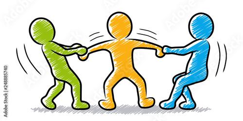 Obraz na płótnie Farbige Strichmännchen: Jemanden auf seine Seite ziehen / Mitarbeiter abwerben /