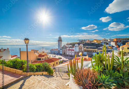Canvas Print Landscape with Candelaria town on Tenerife, Canary Islands, Spain