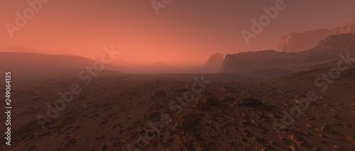 Photo Bare rough rocky mars terrain in fog.