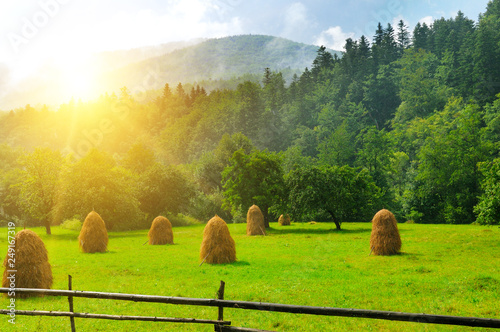 Haystacks in the mountain valley of the Carpathian mountains Fototapet