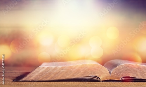Fotografie, Tablou Open Holy bible book on background