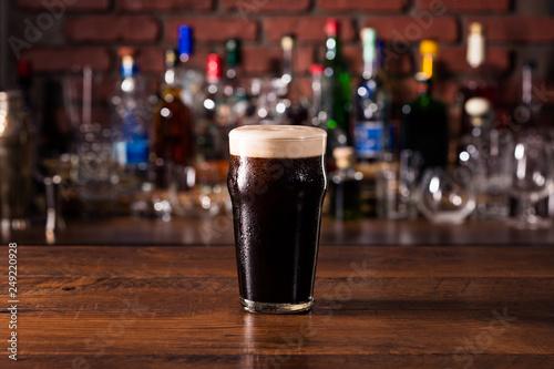 Photo Refreshing Dark Stout Craft Beer