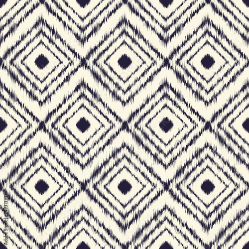 Monochrome dyed effect tribal diamond pattern inspired by Japanese traditional minimalist designs and Ikat dyeing technique.