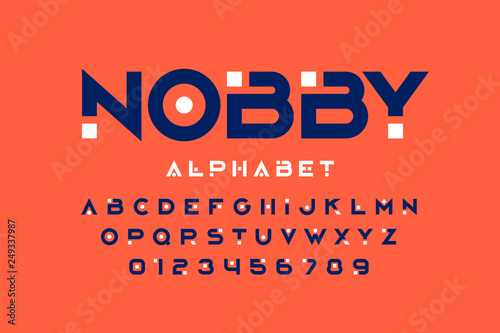 Tela Modern font design, trendy alphabet letters and numbers