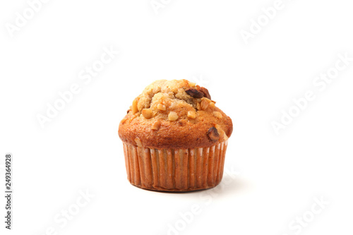 nuts cupcake muffin isolated on white background Fototapeta