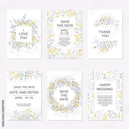 Romantic tender floral design for wedding invitation Fototapete