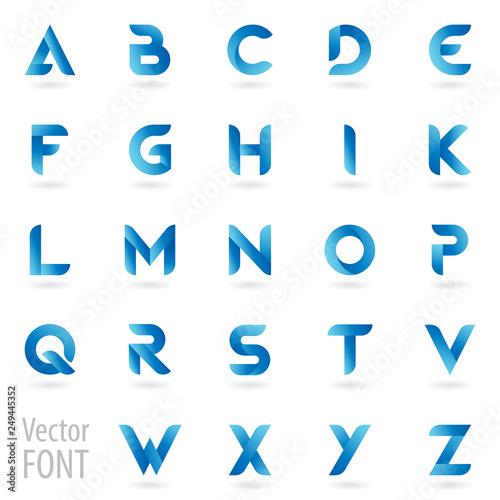 Obraz na plátně Simple bold font of blue gradient letters set