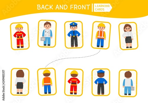 Matching children educational game. Match of back and front. Activity for pre sсhool years kids and toddlers.