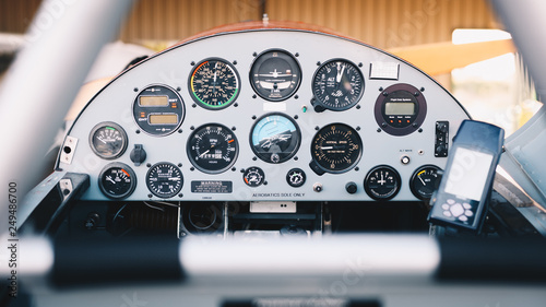 Leinwand Poster cockpit detail. Cockpit of a small aircraft