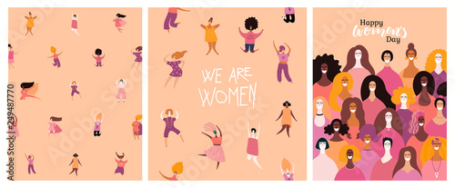 Canvas-taulu Set of womens day cards with diverse women and lettering quotes