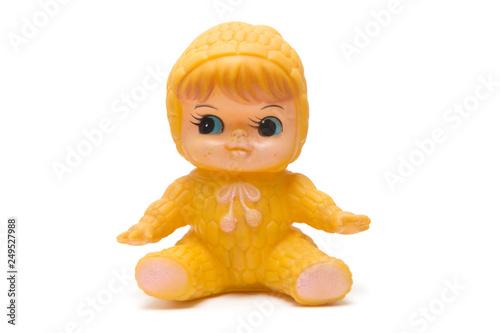 Tela Vintage doll isolated on white background