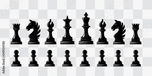 Wallpaper Mural Chess piece icons. Board game. Black silhouettes.