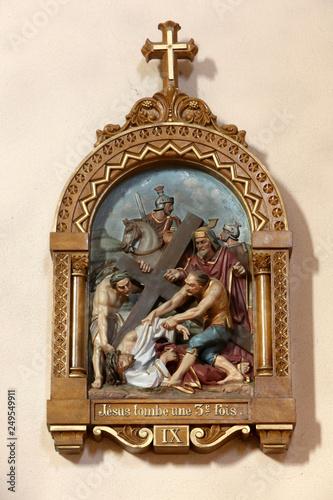 Canvas Print Jésus-Christ tombe tombe pour la troisième fois