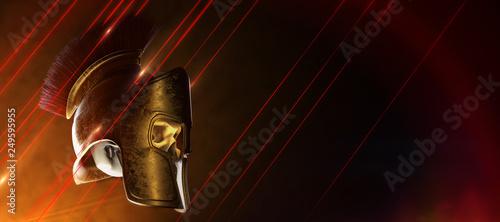 Fotografia high quality spartan helmet with skull inside, Greek roman warrior Gladiator, le
