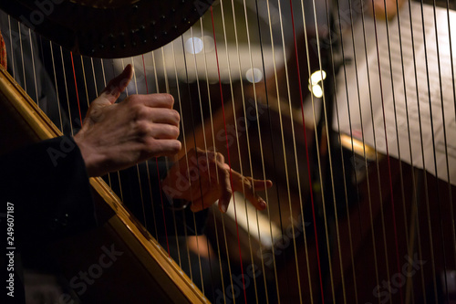 Photo hands playing the harp