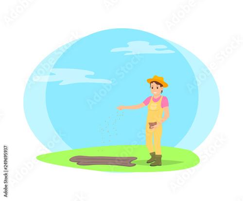Photo Farmer sowing seeds into garden beds cartoon vector icon