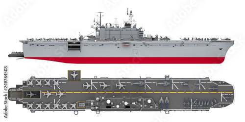 Wallpaper Mural aircraft carrier side and top view isolated on white