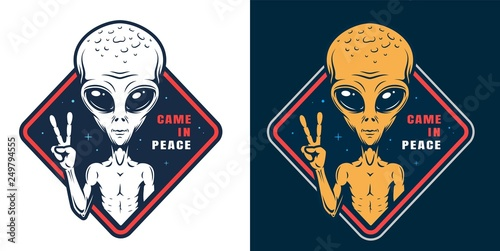 Leinwand Poster Alien showing peace sign colorful label