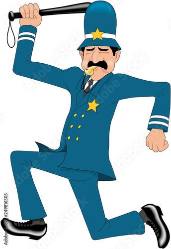 Valokuva Keystone Cop Cartoon Vector Illustration