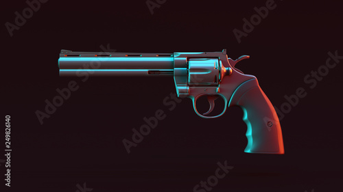 Fotografie, Obraz Double Action Revolver with Red Blue Green Moody 80s lighting  Front 3d illustra