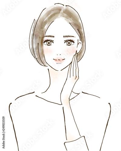 Carta da parati 女性 イラスト 幸せ 美容 健康的 スキンケア 美魔女