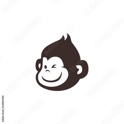 Murais de parede little monkey chimp logo vector icon illustration