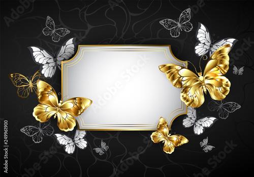 Fotografie, Obraz Straight banner with golden butterflies