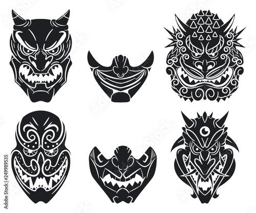 Stampa su Tela Oni and kabuki traditional japanese masks with demon face