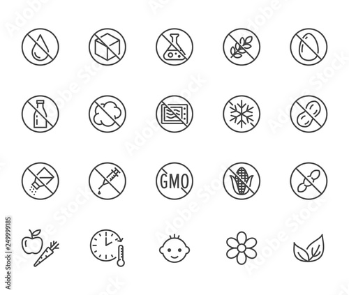 Canvas Print Natural food flat line icons set