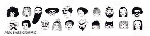 Fotografiet Hand drawn doodle set of people faces