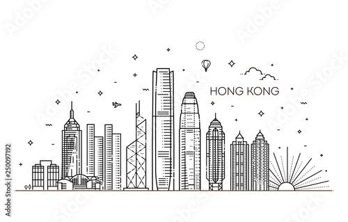 Wallpaper Mural Hong Kong skyline, vector illustration in linear style