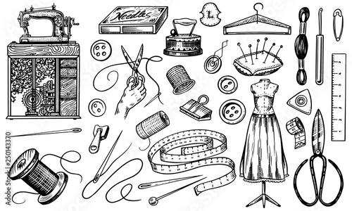 Fotografia, Obraz Set of sewing tools and elements or materials for needlework