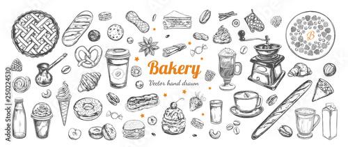 Obraz na plátně Coffee and Bakery vector hand drawn, elements