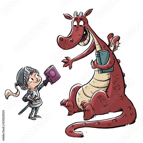 Fotografie, Obraz niño caballero con dragon y libro