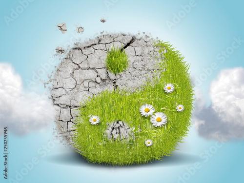 Canvas Print Jing jang green ground energy