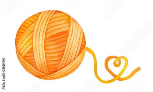 Fotografija Bright and colourful wool yarn ball with playful heart-shaped end of thread