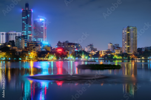 Hanoi Vietnam cityscape at night. City urban skyline of old town district