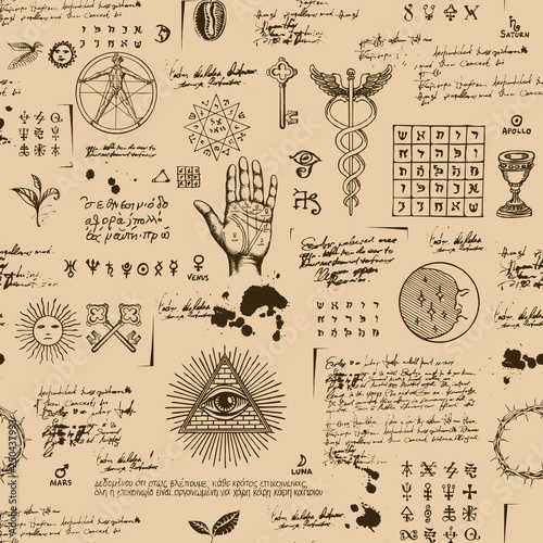 Fotografia Vector seamless background on the theme of mysticism, magic, religion and the occultism with various esoteric and masonic symbols