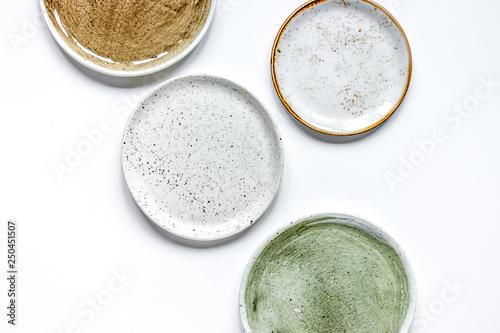 Fényképezés ceramic tableware top view on white background mock up