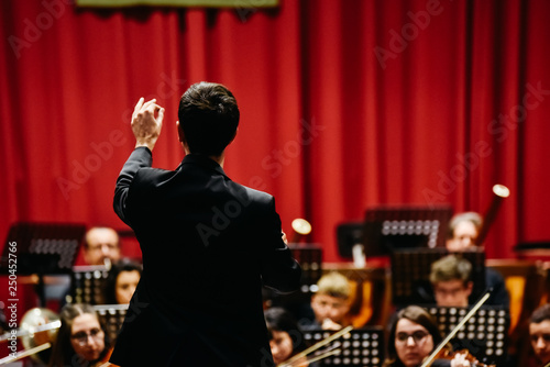 Orchestra conductor from behind directing his musicians during a concert.