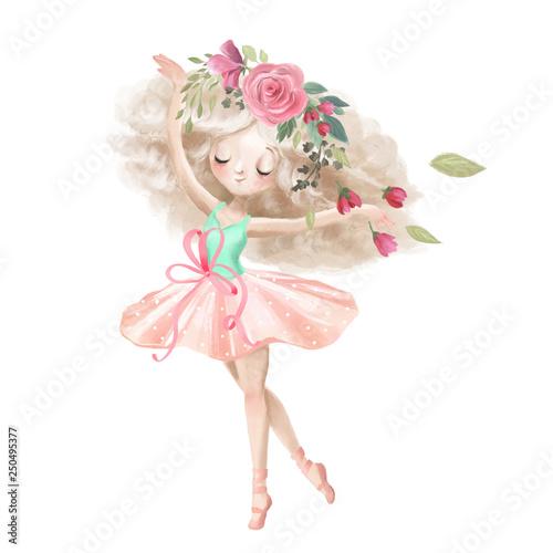 Canvastavla Cute ballerina, ballet girl with flowers, floral wreath