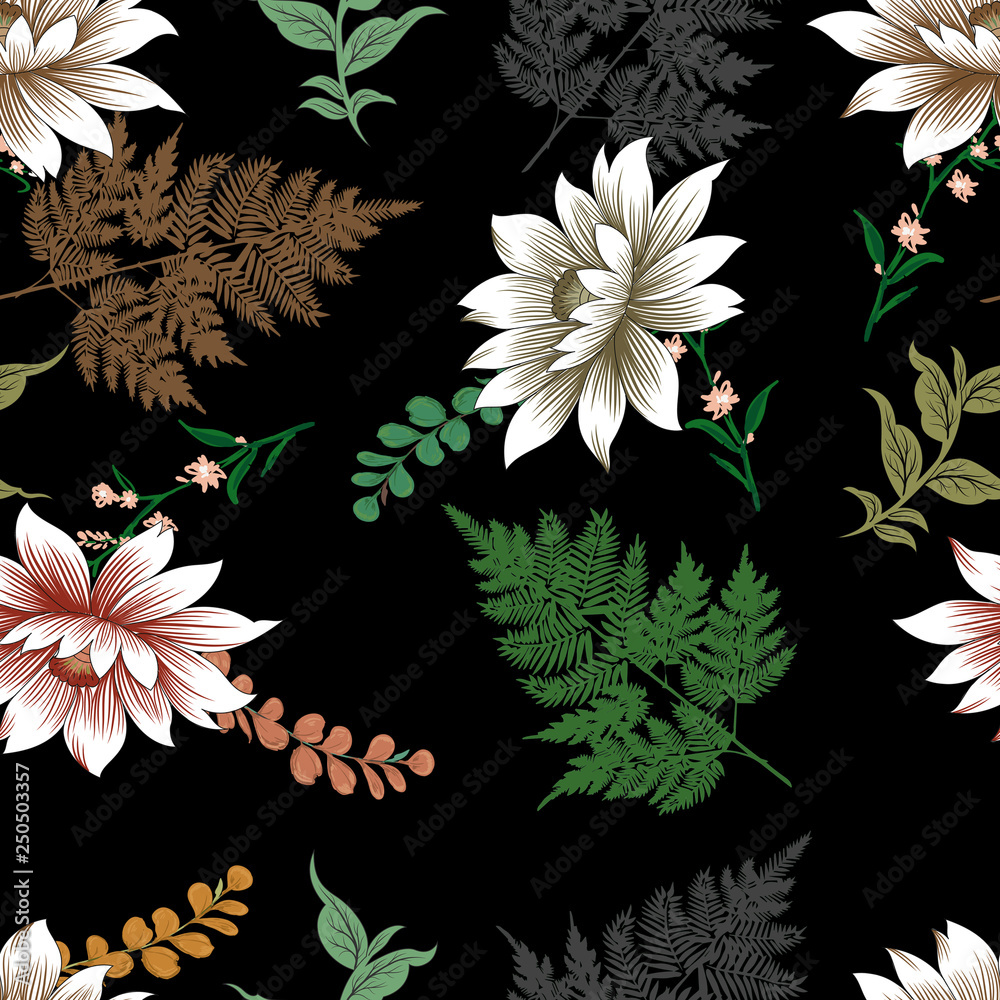Flowers leaf and branches seamless pattern design