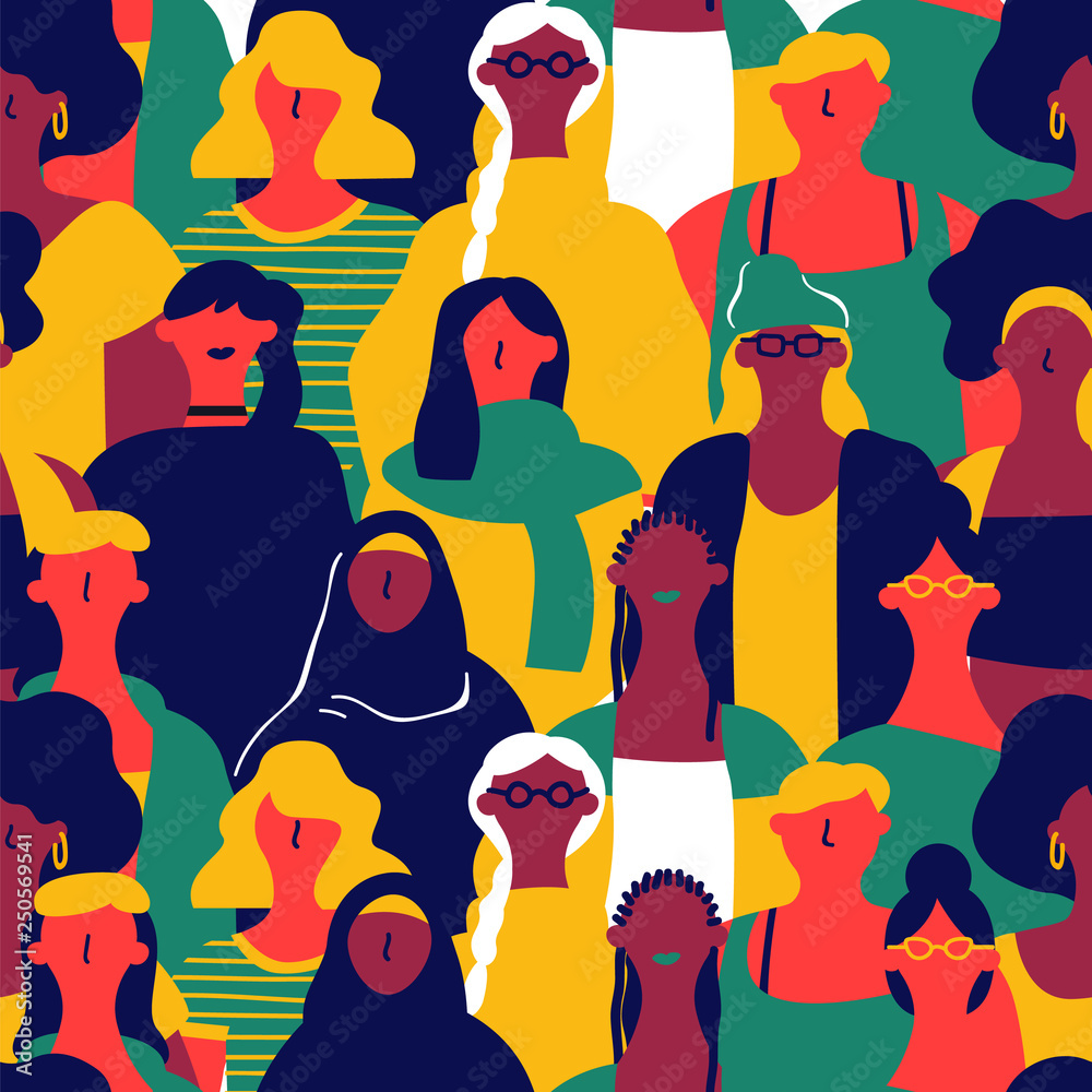 Damski dzień bezszwowy wzór różnorodna kobieta stawia czoło <span>plik: #250569541   autor: Cienpies Design</span>