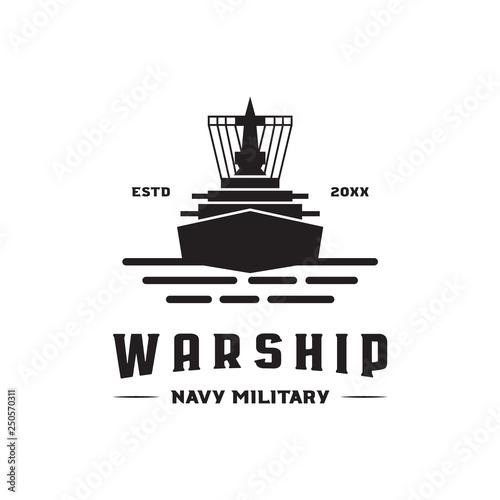 Wallpaper Mural war ship navy military logo icon vector template