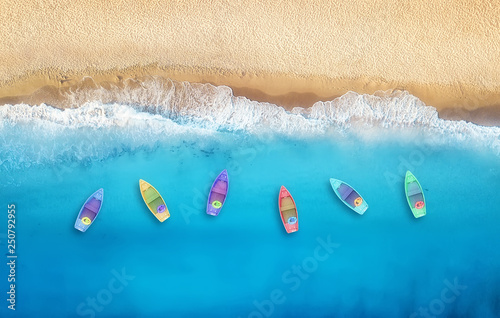Canvas Print Boats from air