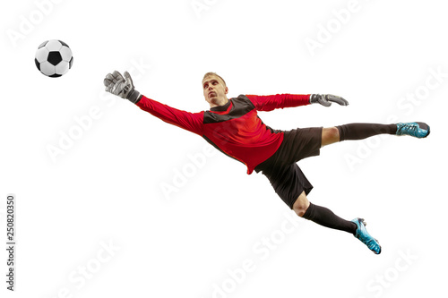 Fotomural Male soccer player goalkeeper catching ball in jump