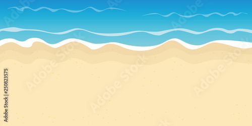 Canvas Print sandy beach and water summer holiday background vector illustration EPS10