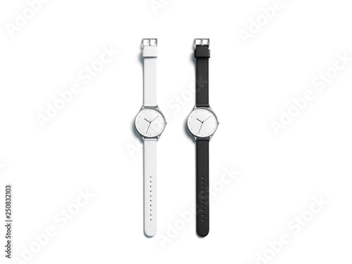 Valokuva Blank black and white watch wristlet mockup set, isolated, 3d rendering
